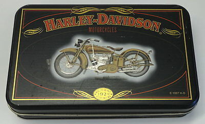 "HARLEY DAVIDSON L.E. Tin Box featuring 1929 ""45"" Model 29D Side Valve from 1997"