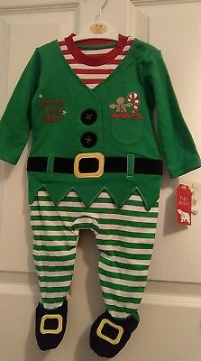 nwt GEORGE Asda BABY CHRISTMAS ELF OUTFIT & HAT 0/3 3/6 9/12 Months GREEN COTTON
