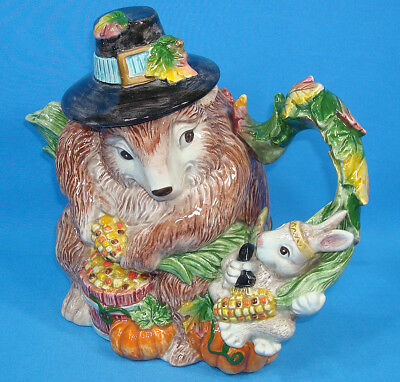Fitz and Floyd Paint Party Teapot Thanksgiving Fall Theme 1995