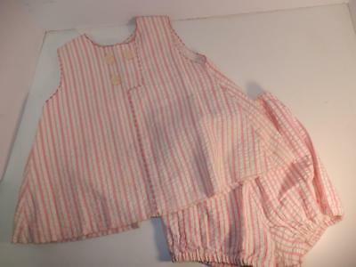 VINTAGE BABY OUTFIT 1950s PINK STRIPED DRESS & DIAPER COVER OR FOR DOLL