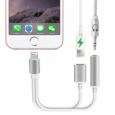 Lightning to 3.5mm Aux Headphone Jack Audio Charge Adapter For iPhone 7 & 7 Plus