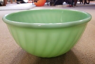 "Vintage Fire King Jadeite 9"" Swirl Mixing Bowl Mint Jadite Glass Oven Ware USA"
