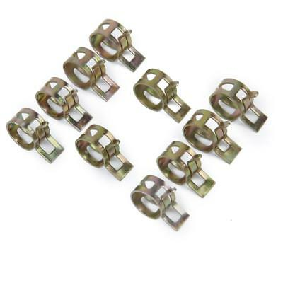 10Pcs 12mm Spring Clips Clamps Fuel Hose Line Water Pipe Air Tube Fasteners
