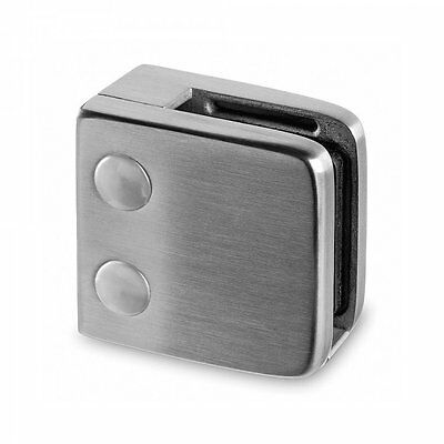 Brushed Stainless Steel Glass Balustrade Square Clamp- Flat Back