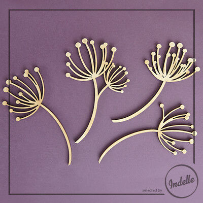Dandelions Chipboard Shapes Card Making Ornaments Papercraft Scrapbooking 4 Pack