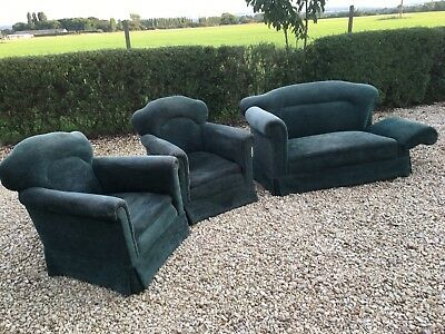 Vintage 2 Seater Sofa With Drop Arm and 2 Matching Armchairs