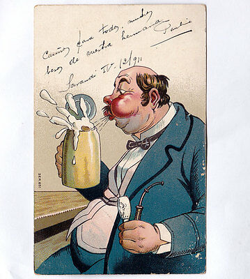 Germany 1911 Antique Postcard Brewer Man Beer Blow, Smoking Pipe Great Design