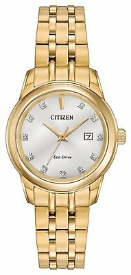 Citizen Eco-Drive Women's EW2392-54A Diamond Markers Gold-Tone 29mm Watch
