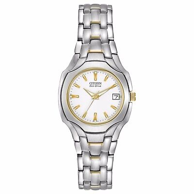 Citizen Eco-Drive Women's EW1254-53A White Dial Two-Tone Sport 25mm Watch