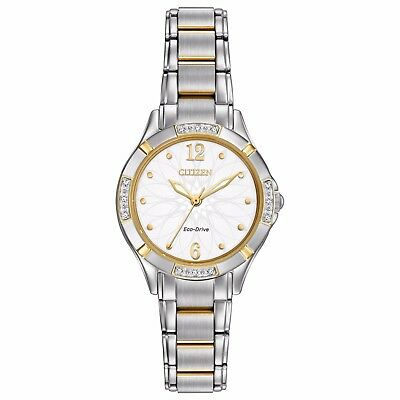 Citizen Eco-Drive Women's EM0454-52A  Floral Motif Dial Two-Tone 29mm Watch