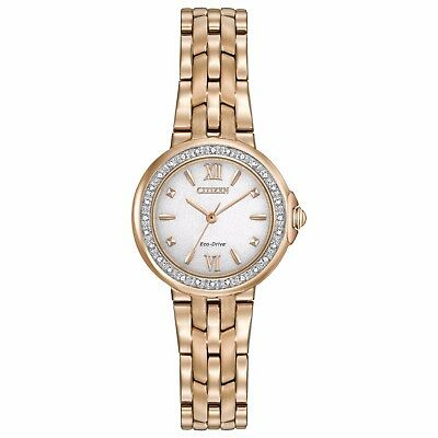 Citizen Eco-Drive Women's EM0443-59A Diamond Accents Rose Gold Tone 29mm Watch
