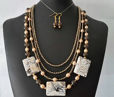 (218) Handmade Jewelry Set Agate Pearls Crystals 4 Strand