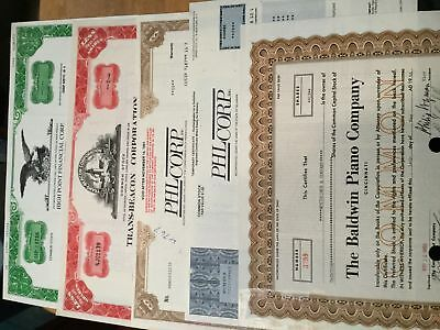 5 Assorted Stock Certificates, All Issued #8
