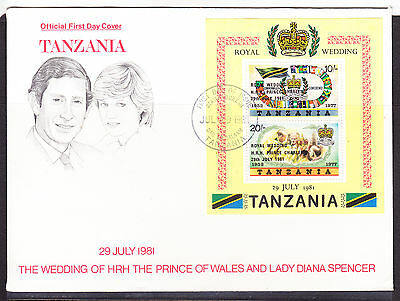 Tanzania 1981 Royal Wedding - Charles & Diana Wedding -  MS First Day Cover