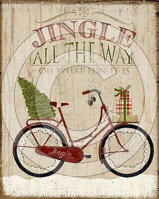 Primitive Folk Art Christmas Red Bike Tree Jingle All the Way - PRINT ONLY 8x10