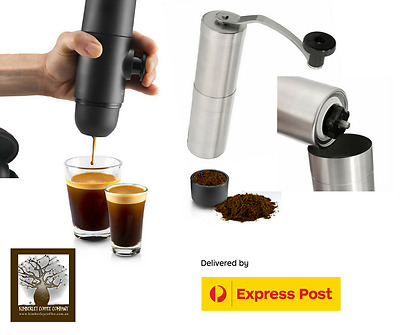 Minipresso for ground coffee GR +  Stainless Steel Ceramic Hand Grinder + Coffee