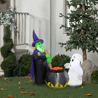 4ft Gemmy Halloween Airblown Inflatable Potion Tasting Witch Ghost Yard Outdoor