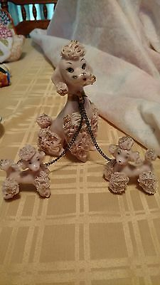 Spaghetti Poodle~Pretty Napco Mother & Two Little Ones~Excellent Condition