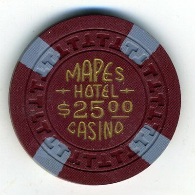 1950s $25 chip from the legendary Mapes Hotel, Reno, T mold, GREAT condition