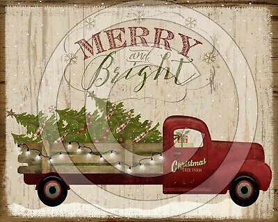 Primitive Folk Christmas Tree Old Red Truck Merry and Bright -  PRINT ONLY 8x10