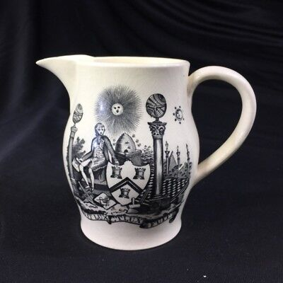 Creamware masonic jug, early 19th century