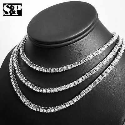 New Iced Out White Gold PT 1 Row Lab Diamond 3mm Tennis Choker Chain Necklace