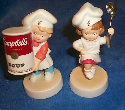THE CAMPBELL'S SOUP KIDS Advertising PORCELAIN FIGURINES, NEW IN BOX, BOY & GIRL