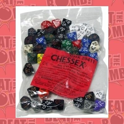 Bulk D10 Tens Dice Assorted Loose Opaque Polyhedral (50 Dice In Bag  - BRAND NEW