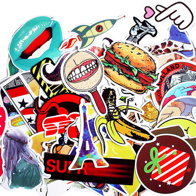 50 Pieces/lot Cartoon Cute Hamburger Beauty Girl Fridge Car Laptop Sticker Decal