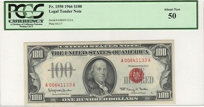 """Fr.1550 1966 $100 LEGAL TENDER NOTE """"RED SEAL"""" PCGS 50 ABOUT NEW"""