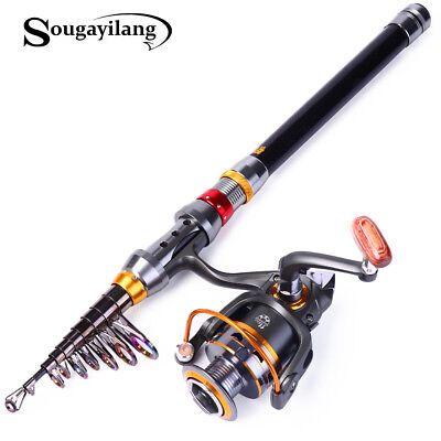 Portable Carbon Telescopic Fishing Rod & Reel Combos Sea Spinning Travel Rod