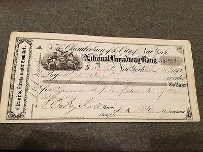 Boss Tweed Era, New York City Signed Check A Oakey Hall 1871 Tammany Hall Frauds