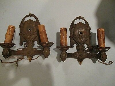 Antique VIntage 1920's Lighted Wall Sconces Double Lights Pair