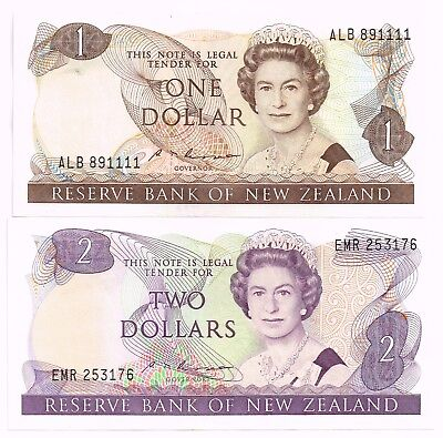 LOT OF TWO 1985-89 NEW ZEALAND ONE & TWO DOLLARS NOTES - p169b,170b
