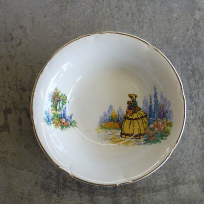 Vintage Broadhurst Dessert Bowl Crinoline Lady Yellow Dress England Garden