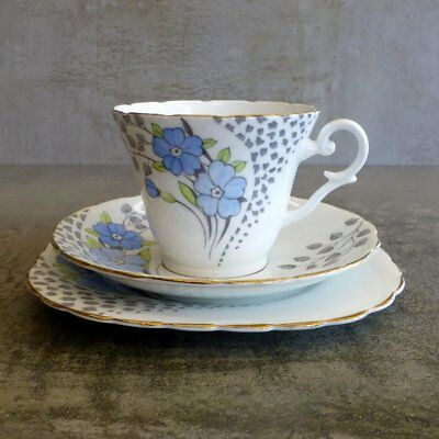 Vintage Wellington china JHC & C England Teacup Saucer Plate Trio Blue Flowers