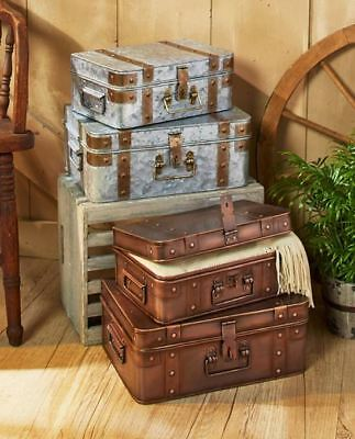 Set of 2 Vintage Antique Home Decor Steamer Storage Metal Chest Box Trunk