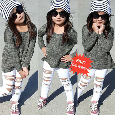 Toddler Kids Baby Girls Set Long Sleeve T-shirt Tops+Long Pants Outfit Clothes