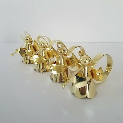 Gold Metal Angels Napkin Rings Holders Set Of 4 Playing Trumpets Xmas Holidays