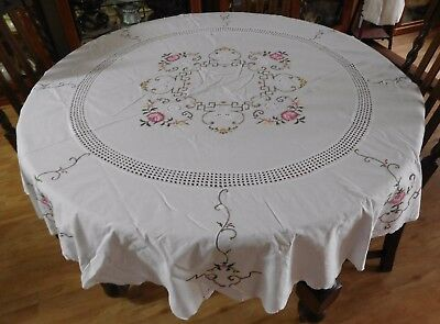 Vintage Embroidered Linen Rose/Flower Cross Stitch Tablecloth