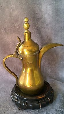 ANTIQUE ISLAMIC TURKISH OTTOMAN BRASS TOMBAK COFFEE POT SIGNED both side