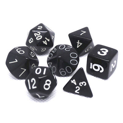 7 Dice Set For DND TRPG Multi Sided Acrylic D4-D20 Black