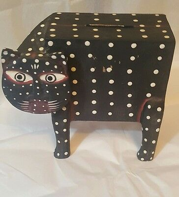 """Wood Cat PIGGY Bank, signed BR Vintage Look Hand Made Painted 6 1/2"""" x 6 """"RARE"""