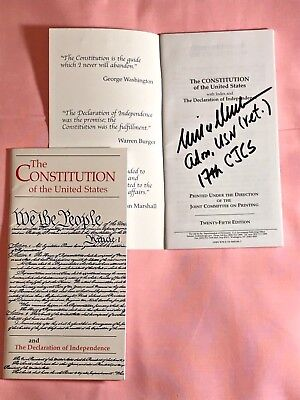 Signed Joint Chiefs of Staff Adm. Mike Mullen signed U.S. Constitution