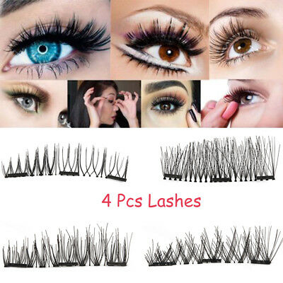 SKONHED 4 Pcs Lashes Triple Magnetic False Eyelashes Silk Fiber Extension Makeup