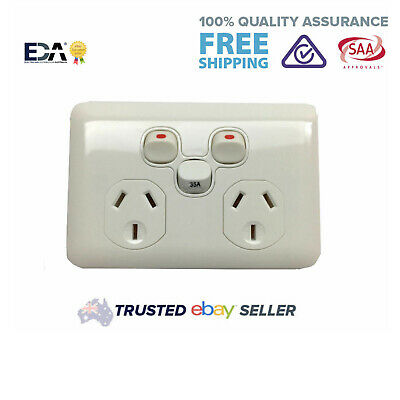 35 Amp Slimline Wafer Double Power Point Extra Switch Outlet Socket DGPO Slim