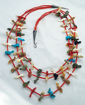 Vintage Zuni Fetish Necklace Peter Dinah Gasper Three Strand Coral Turquoise Jet