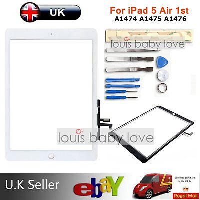 For iPad 5 Air 1st A1474 A1475 A1476 A1822 White Touch Screen Glass Digitizer UK