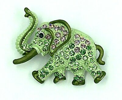 New Elephant Pin Raised Trunk Tusks Green Swarovski Crystal Jeweled By Rucinni