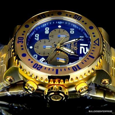 Invicta Pro Diver Combat Seal Gold Plated Steel Blue Chronograph 52mm Watch New